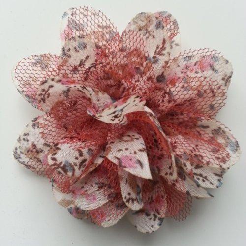Fleur en tissu mousseline à fleur de 60mm ivoire et bronze