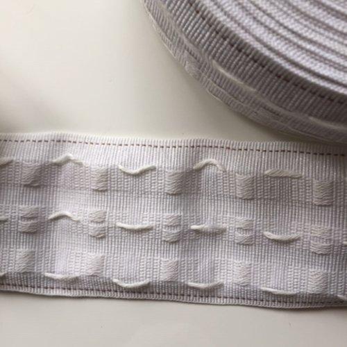 1 mètre ruflette galon fronceur pour rideaux de 8cm de large blanc