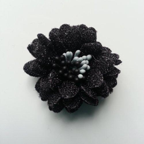 Fleur en tissu pailleté et pistils 40mm noir