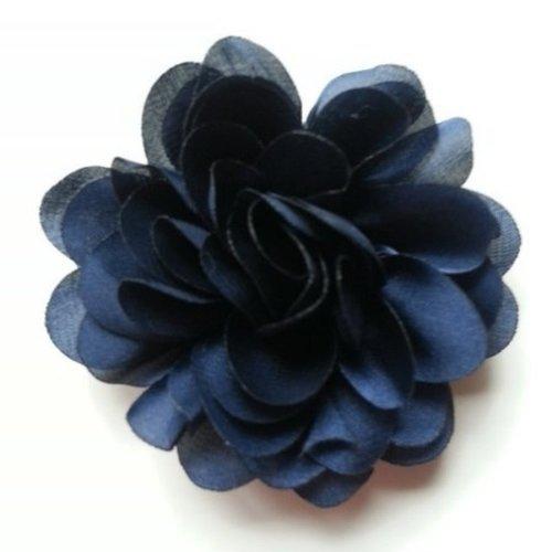 Fleur en mousseline de soie de 60mm bleu marine