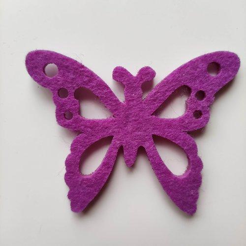 Papillon en feutrine mauve 55*70mm