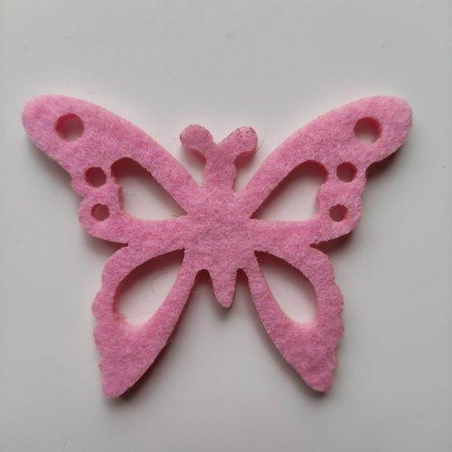 Papillon en feutrine rose 55*70mm