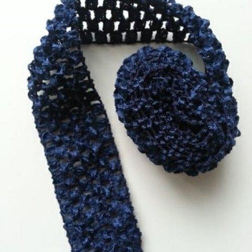 1 mètre de  bandeau cheveux crochet extensible de couleur bleu marine