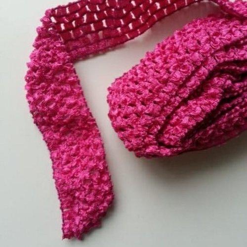 1 mètre de  bandeau cheveux crochet extensible de couleur rose fuchsia
