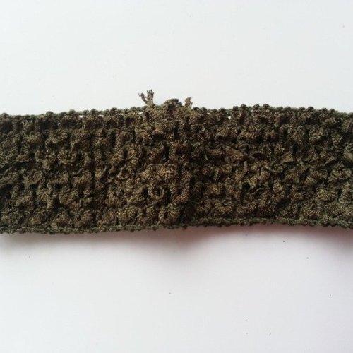 Bandeau cheveux crochet extensible de couleur vert kaki
