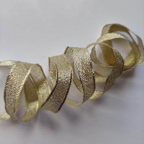 1 mètre de ruban mettalisé doré, or  noel 10mm