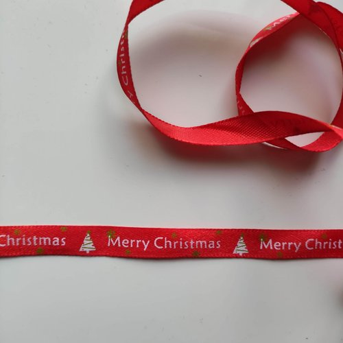 1 mètre de ruban satin rouge impression sapin merry christmas noel 10mm