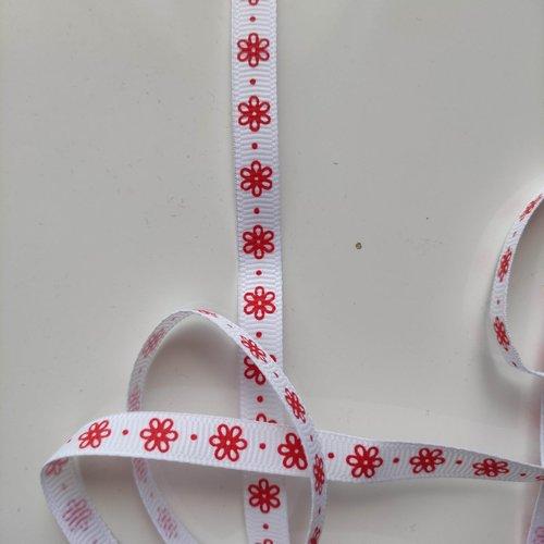 Morceau de 2 mètres de ruban grosgrain blanc impression fleurs rouge 10mm