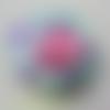 Tête de rose en mousse multicolore bleu rose et violet   70mm