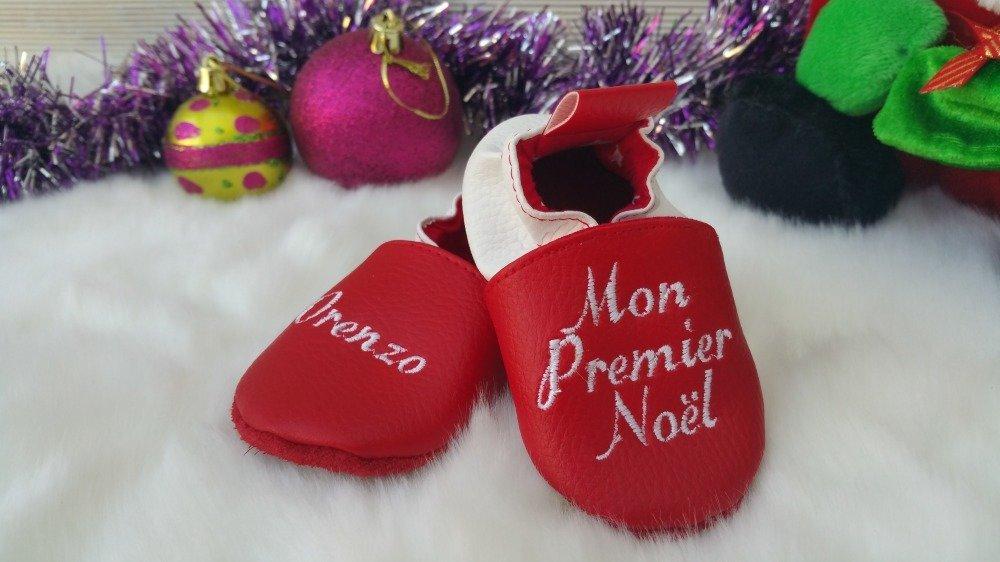Chaussons souple cuir, simili cuir, bébé / enfant, chausson personnalisé, mon premier Noël