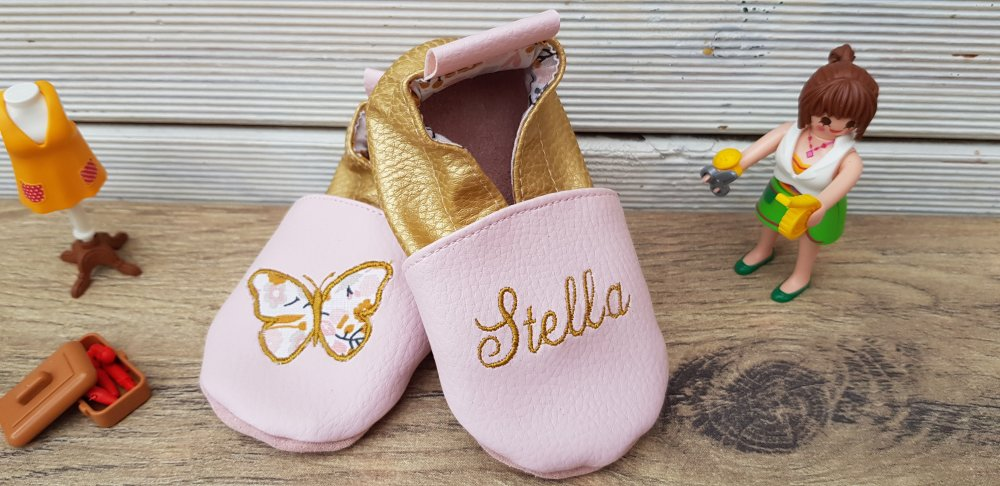 Chaussons souple cuir, simili cuir, papillon édition limitée gold