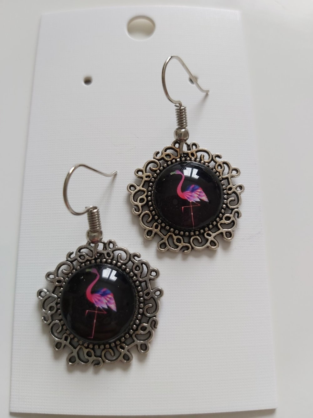 Boucles d'oreilles Cabochon flamands rose