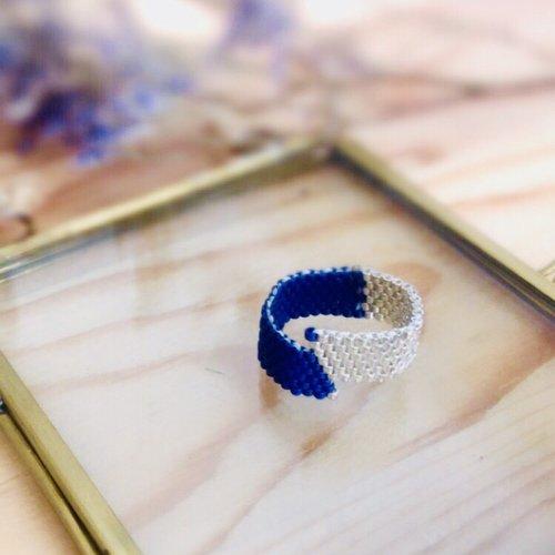 Bague «rio» silver et bleue