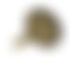 5 support bagues réglables, plateau rond dents,bronze, cabochon, 14 mm