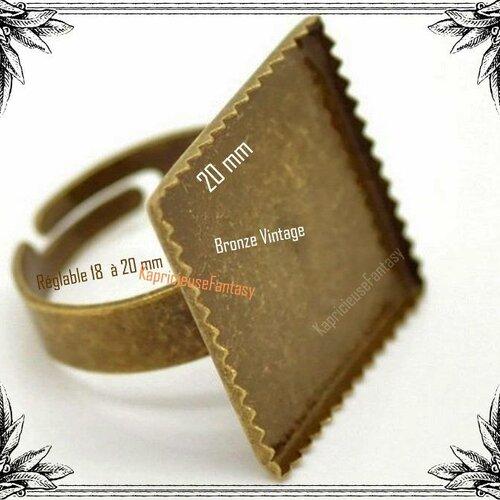 1 support bague réglable pour cabochon, plateau carré denté, anneau bronze, vintage, 20 mm