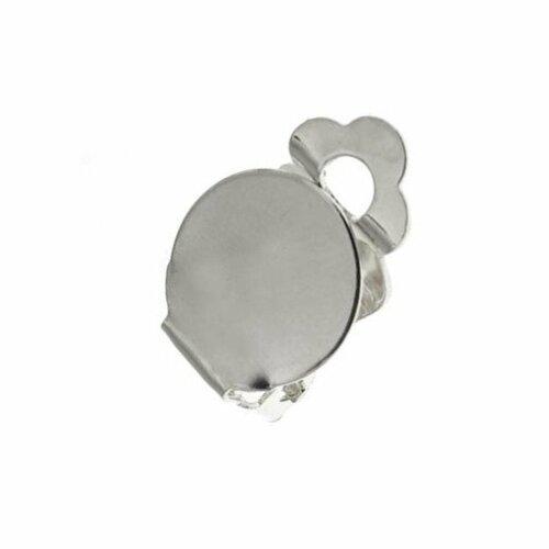 10 boucle d'oreilles support clip rond en métal argent pour cabochon, camée, perles, 10 mm