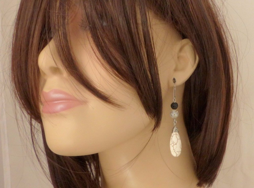 Boucles d'oreilles ethniques grands crochets, pierres et acier chirurgical (BO28)