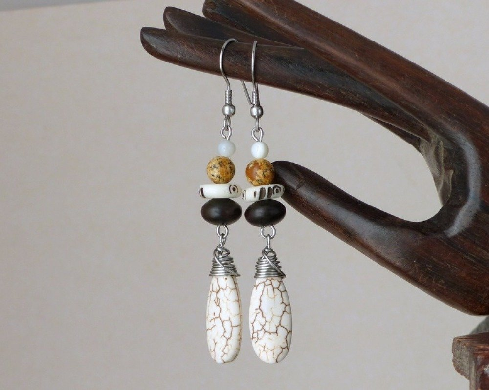 Boucles d'oreilles ethniques, pierre, os bois, acier inoxydable (BO33)