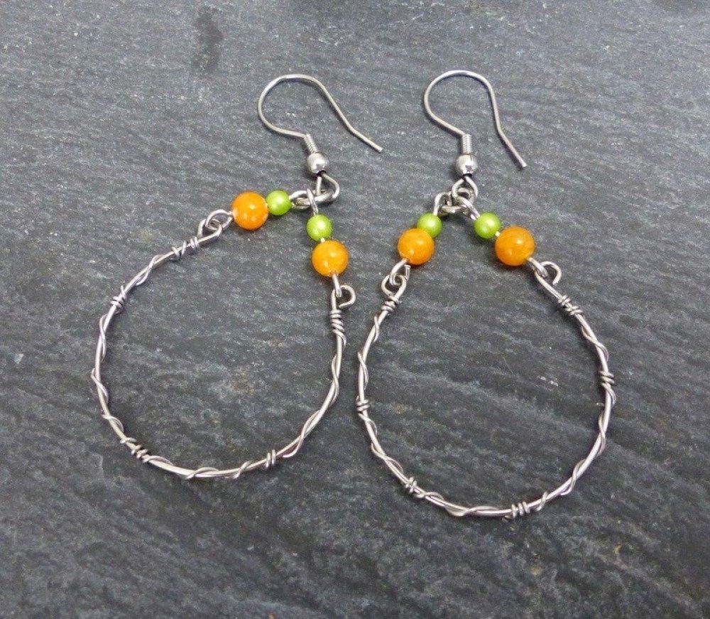 Boucles d'oreilles légères originales, pierre verre et acier inoxydable (BO45)