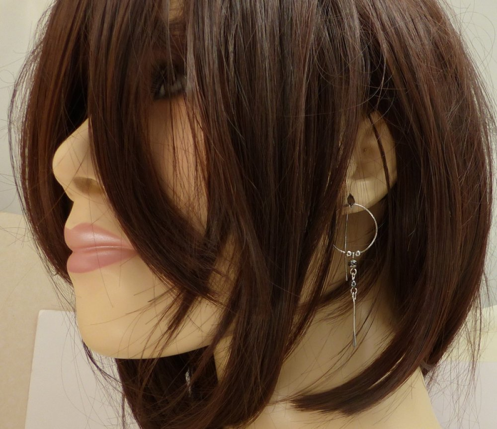 Boucles d'oreille fines et légères hématite acier chirurgical (BO51)