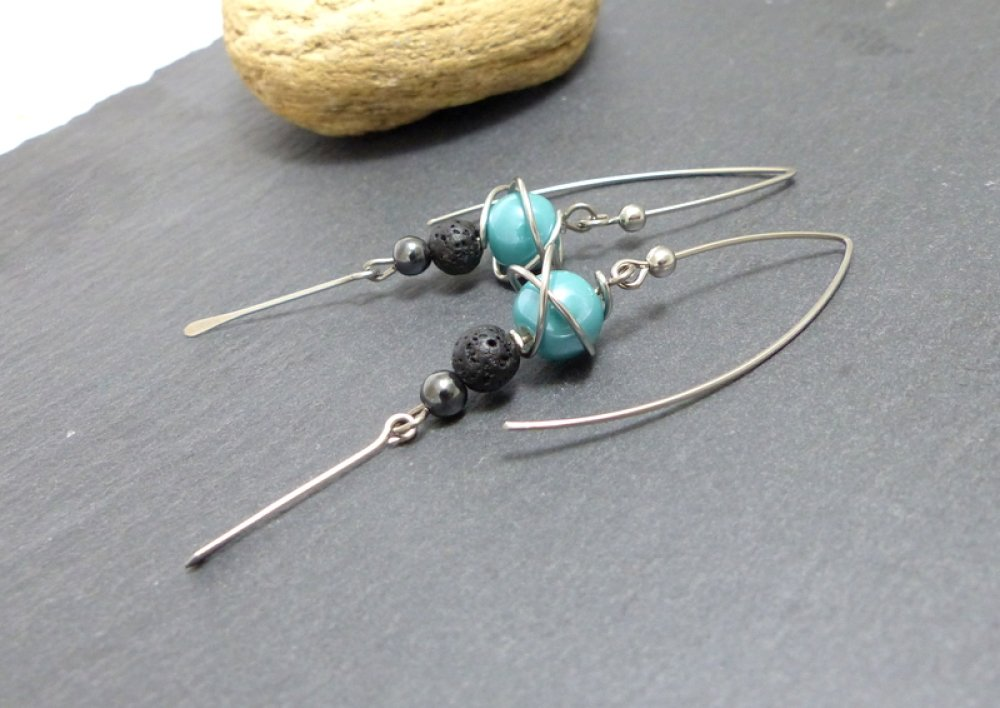 Boucles d'oreille grands crochets bleu/vert céramique, pierre et acier chirurgical (BO53)