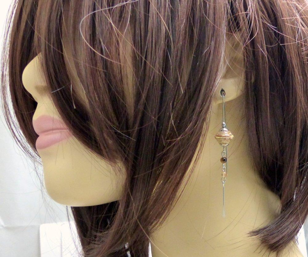 Boucles d'oreilles longues grands crochet tribales ethniques bohèmes,beige marron acier chirurgical (BO51)