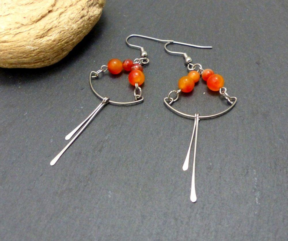 Boucles d'oreilles oranges pierres naturelles, acier inoxydable (BO10)