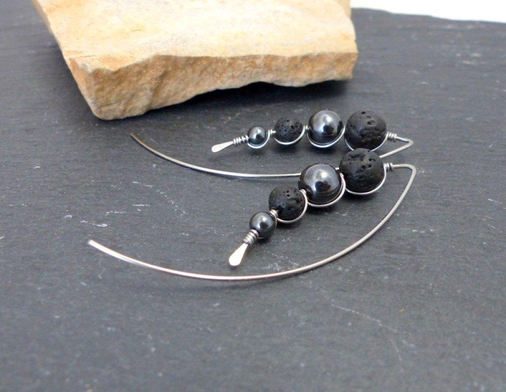 Boucles d'oreilles minimalistes grands crochets, lave hématite et acier chirurgical (BO51)