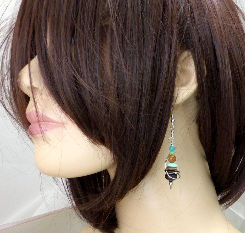 Boucles d'oreilles bleu marron, pierre naturelles, bois et acier inoxydable (BO55)