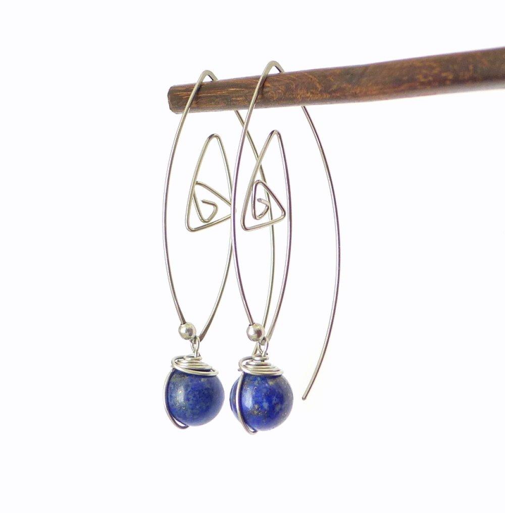 Boucles d'oreille grands crochets, lapis lazuli et acier chirurgical (BO58)