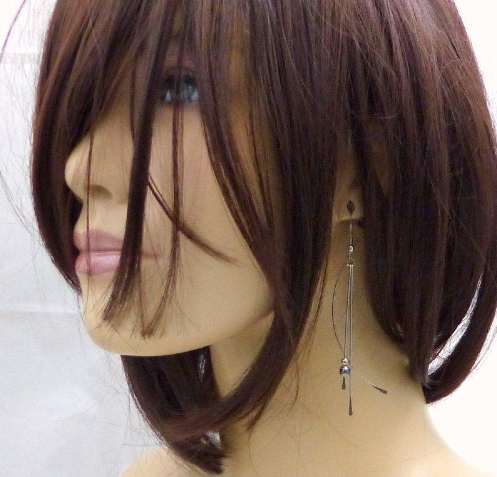 Boucles d'oreilles longues, hématite et acier inoxydable 6 couleurs au choix (BO59)