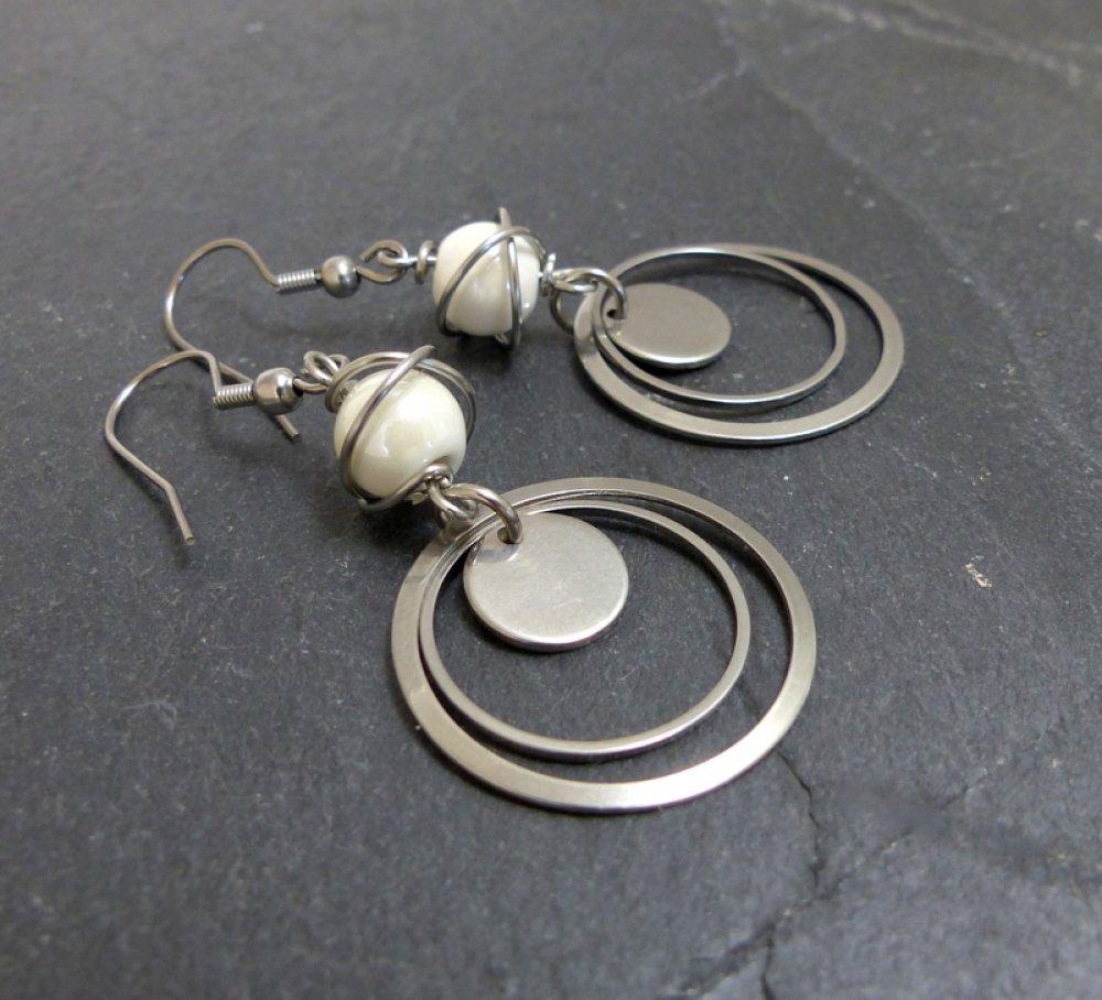 Boucles d'oreilles céramique blanche et acier inoxydable (BO65)