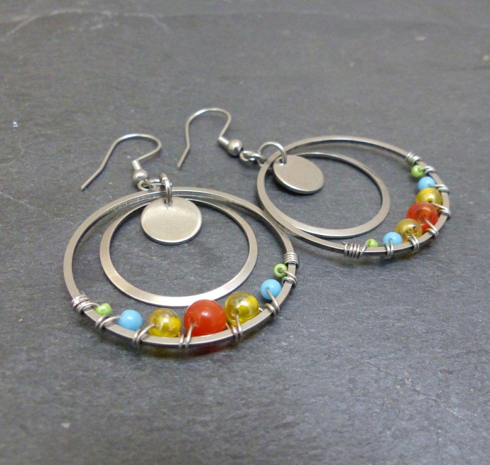 Boucles d'oreilles créoles multicolores verre et acier inoxydable (BO66)