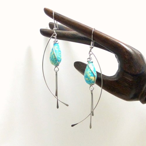 Boucles d'oreille longues bleues goutte résine et acier inoxydable (bo66)