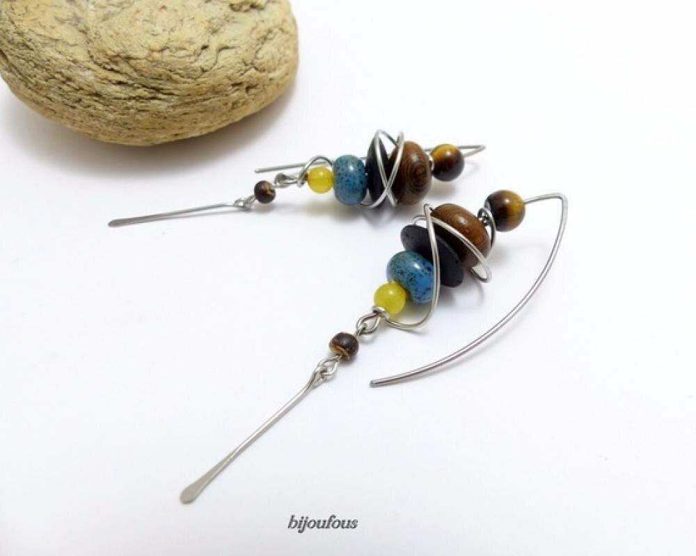 Boucles d'oreille ethniques multicolores grands crochets (BO1)