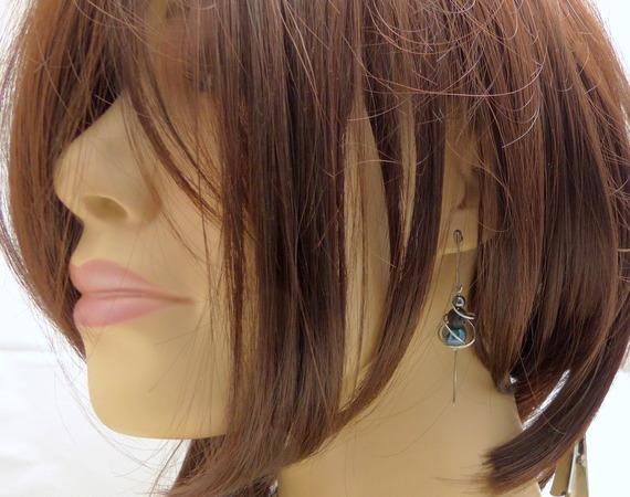 Boucles d'oreilles bleu gris noir, céramique, hématite, lave et acier inoxydable (BO6)