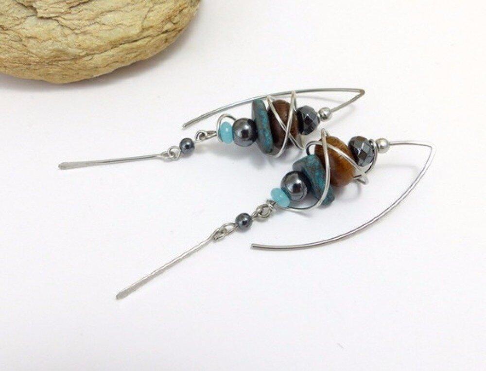Boucles d'oreille ethniques bleu marron gris grands crochets (BO6)