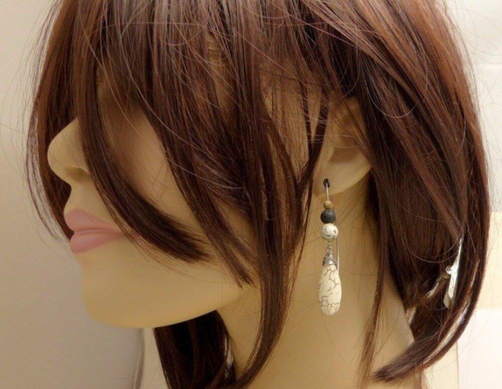 Boucles d'oreilles ethniques grands crochets, pierres et acier chirurgical (BO23)