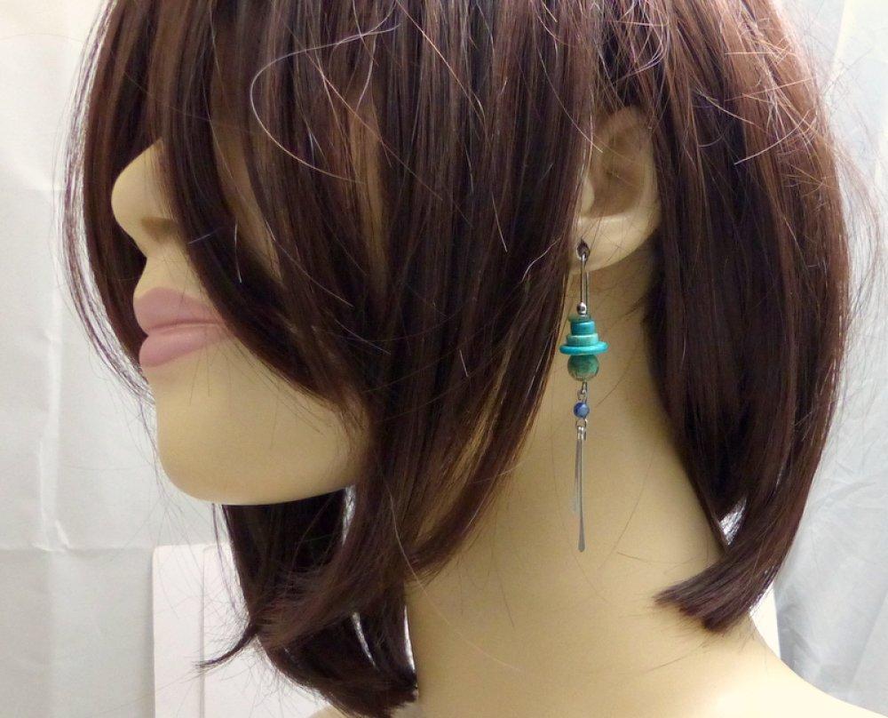 Boucles d'oreille longues grands crochet tribales ethniques bohèmes,bleu, pierres et acier chirurgical (BO53)