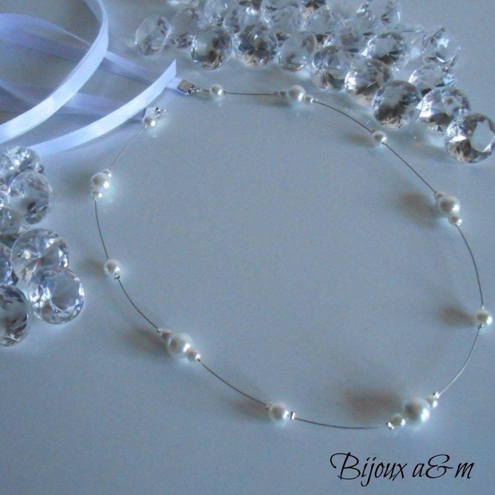 Headband mariage simple et raffiné perles nacrées blanches et satin