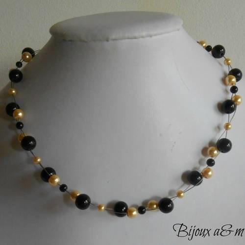 Collier mariage torsade perles or et noires