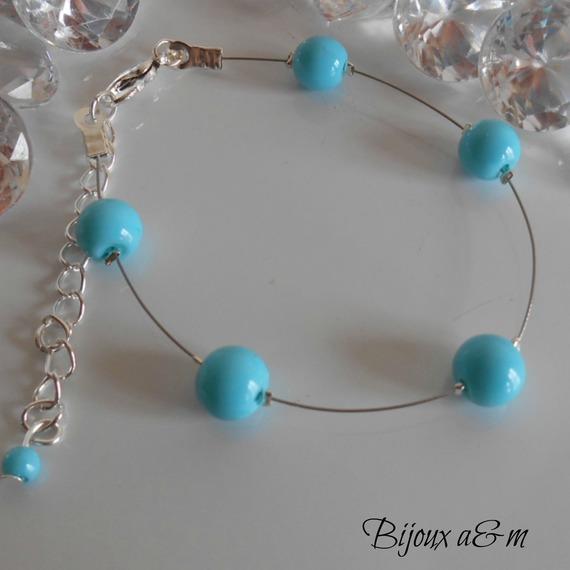 Collier mariage simplicité perles turquoises