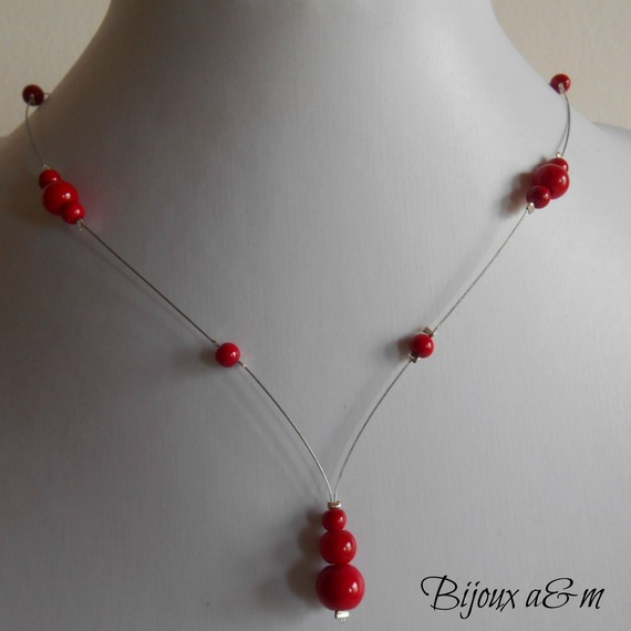collier perle rouge mariage