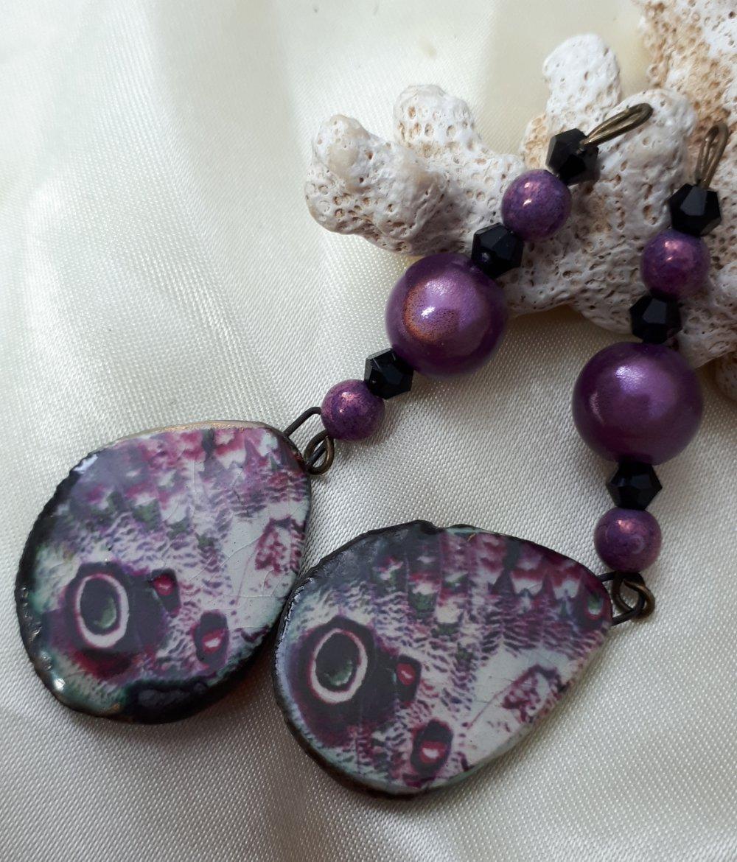 Boucles d'oreilles faites main camaïeu de mauve et violet