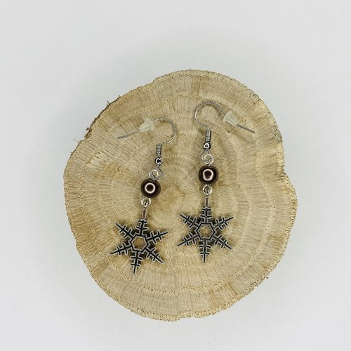 Boucles d'oreilles noël flocons de neige perles marrons