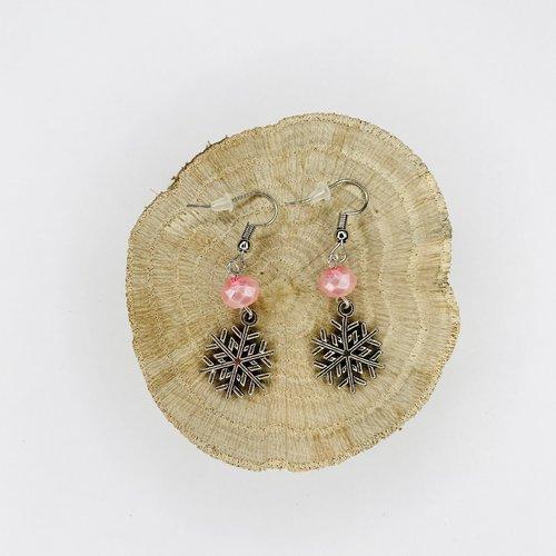 Boucles d'oreilles noël flocons de neige perles roses