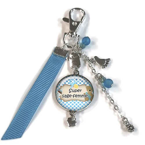 Porte clés sage femme, bijou de sac super sage femme