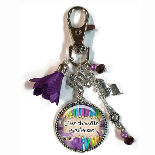 Porte clés maîtresse, bijou de sac une chouette maîtresse, cadeau fin d'année scolaire