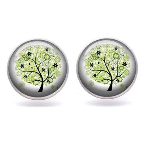 Boucle d'oreilles arbre de vie, puce d'oreille arbre de vie, boucle d'oreille cabochon verre 12 mm