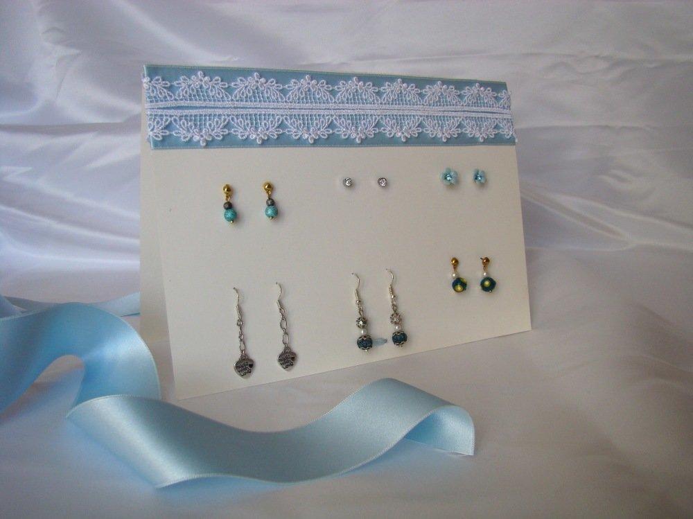 Présentoir à bijoux pour boucles d'oreilles percées bleu et blanc